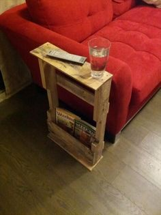 The DIY pallet side table or end table is an upcycled piece of pallet furniture. It is made entirely from reclaimed pallets including posts...