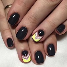 Black gloss with neon yellow and white nail art feature.  by thenailbarsydney http://ift.tt/1NRMbNv