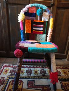 Yarn bombed chair, I donated to a fundraising auction in 2012