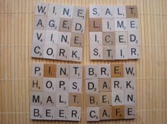 Scrabble coasters using Manila folder and paper for backing.  I could use the game board