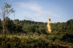 Bodhisattva Kannon, north of Semboku. It was to read, that this statue is in the near of the hotel Mori no Kaze Tazawako, Semboku