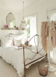 French inspired bedroom decor ... its a feminine bedroom with lots of shabby and cottage chic touches.
