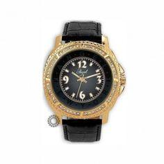 Γυναικείο ρολόι quartz της ANGEL με μαύρο καντράν & λουρί, χρυσή κάσα & ζιργκόν | Οικονομικά ρολόγια ANGEL στο κατάστημα ΤΣΑΛΔΑΡΗΣ στο Χαλάνδρι #angel #ζιργκον #δερμα #γυναικειο #ρολοι
