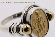 Duo gold silver ring | Timeless handcrafted gold silver jewelry by PhilippePlanas.com | Click here for more details: http://www.philippeplanas.com/duo-14k-gold-silver-ring-p/ba500g.htm