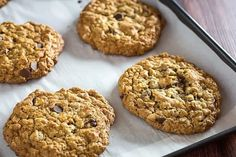 Flourless Oatmeal Cookies With Chocolate Chips • Dishing Delish Flourless Oatmeal Cookies, Oatmeal Applesauce Cookies, Oatmeal Chocolate Chip Cookies, Chocolate Chips, Gluten Free Cookies, Gluten Free Baking, Gluten Free Desserts, Healthier Desserts, Honey Recipes