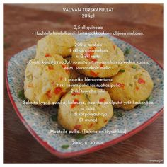 Vauvan turskapullat Toddler Meals, Toddler Food, Food Lists, Baby Food Recipes, Finger Foods, Cantaloupe, Muffin, Paleo, Breakfast