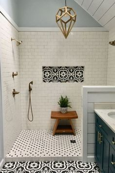 My Master bath remodel. Black and whi… My Master bath remodel. Black and white patterned tile. Best Bathroom Tiles, Bathroom Renos, Bathroom Flooring, Bathroom Interior, Modern Bathroom, Vanity Bathroom, Bathroom Remodeling, Minimalist Bathroom, Bathroom Cabinets