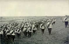 Russian Soldiers marching in Manchuria, China, Russo-Japanese War (日露戦争).