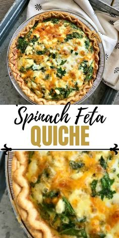 This Easy Spinach Quiche is made with Feta and Cheddar for a delicious flavor combination. Perfect for a brunch quiche or lunch dish. Spinach Feta Quiche, Spinach Quiche Recipes, Veggie Quiche, Broccoli Quiche, Healthy Quiche Recipes, Recipes With Feta Cheese, Spinach Quiche Easy, Simple Quiche Recipes, Recipe Using Feta Cheese