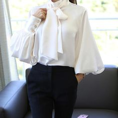 Product Casual Chiffon Bishop Sleeve Pure Colour Shirt Brand Name Naychic Gender Women Style Casual/Daily/Elegant Type Shirt Material Cotton Decoration Pure Colour Please Note: All dimensions are measured manually with a deviation of 1 to Korean Blouse, Bow Tie Blouse, The Office Shirts, Vetement Fashion, Bishop Sleeve, Mode Outfits, Fashion Outfits, Fashion Clothes, Blouses For Women
