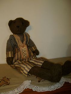 New Country Primitive Tattered Homespun Teddy Bear Stuffed Decorative Doll #teddy, #teddies, #bears, #toys, #pinsland, https://apps.facebook.com/yangutu