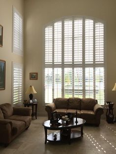 These huge windows look fabulous with our Louverwood custom made plantation shutters. Our Louverwood shutters not only look great but are energy efficient too!