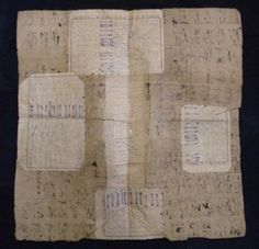 Boro paper made from layers of ledger paper, perhaps from a pawn shop.  Tatou01.  Sri textile gallery.