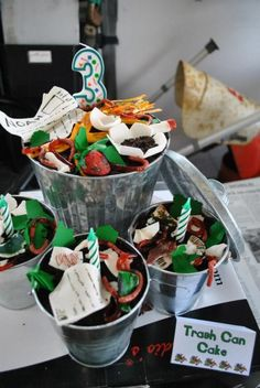http://rollingsin.com/2013/05/20/garbage-truck-themed-birthday-party/galvanized bins for snacks, too