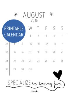 Augustus 2016 - printable kalender | Elske | www.elskeleenstra.nl