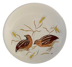 Antique French Gien Majolica Plate - Pair Of Quail - Hand Painted Dinner Plates - Decorative Bird Wall Plate - French Country Cottage