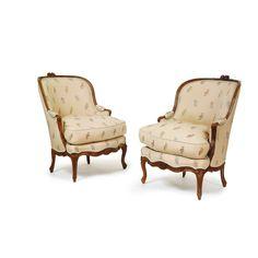 c1755 A pair of Louis XV carved walnut bergères en gondole circa 1755 6,000 — 9,000 USD. unsold
