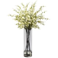 Tall Faux Cherry Blossoms in Glass Vase