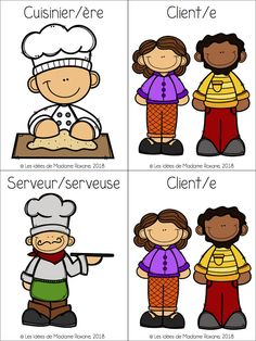 Les idées de Mme Roxane! Community Helpers Preschool, Core French, French Resources, Teaching Social Studies, Teaching French, Dramatic Play, Preschool Activities, French Food, Education