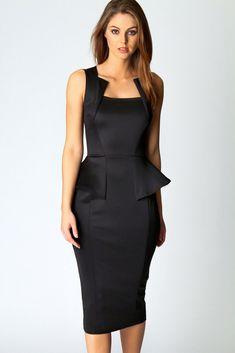 Abi Neck Detail Sleeveless Midi Dress in Black