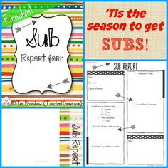 FREEBIE!  Yes teachers, 'tis the season to get SUBS!  Are you prepared?  Get this free Sub Report to use with your classroom.  TeacherKarma.com #sub #teacher