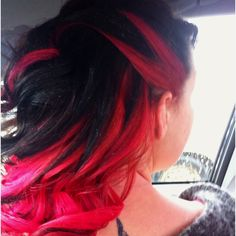 (My Hair) Multi color your hair. Separate by half top and bottom, bleach bottom half with hair bleach from Sally's. Let bleach sit for an hour. Wash out and then put desired hair color on bleached section of hair. I got the red color from Sally's as well. Red fades fast so when you wash your hair it's best for the dye if you use cool water. Wash out hair color. Dry and style :)