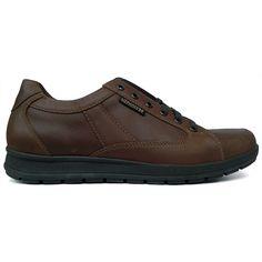 Zapato deportivo piel engrasada color marrón Mephisto vista lateral