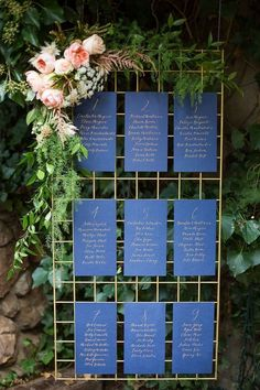vintage navy and gold wedding seating chart ideas