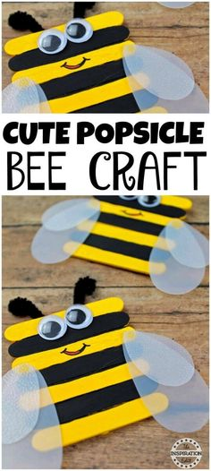 Bumble Bee Popsicle Stick Craft For Kids. A great Preschool Craft or Spring Craft for crafty kids. Have fun making this tutorial. #crafts #springcraft