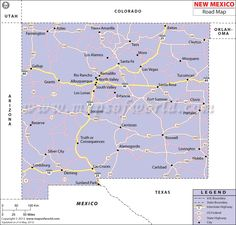 New Mexico Road Map.  I love this website! it has a state map and then you click on states around it and it changes.