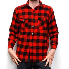 BUFFALO PLAID red and black FLANNEL by CairoVintage on Etsy, $32.00