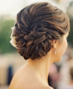 Slightly to the side updo style #wedding #hair #pinned #intertwined #curls