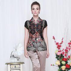 Engaging Modern Open Neck Chinese Shirt - Black - Chinese Shirts & Blouses - Women