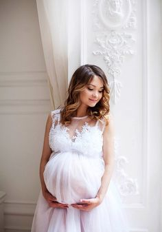 White maternity dress for photo shoot Lace pregnant dress Long baby shower gown Pregnancy photo prop Plus Size Maternity Dresses, Maternity Fashion Dresses, Maternity Dresses For Baby Shower, Dresses For Pregnant Women, Pregnant Wedding Dress, Maternity Gowns, Wedding Dresses Plus Size, Dream Wedding Dresses, Maternity Wedding