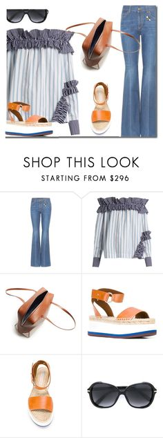 """""""Embroidered Flare Jeans"""" by carolinez1 ❤ liked on Polyvore featuring Gucci, MSGM, TIBI, STELLA McCARTNEY and Marc Jacobs"""