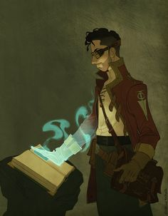 Claire Hummel -- Myst art!  Cool!! (that's the Riven logo on his sleeve, so is this supposed to be Riven?)
