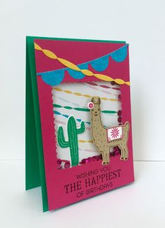 handmade birthday card ... Fiesta Llama .... shaker card format with sequins inside ... bright tropical colors ...  Stampin' Up!