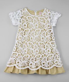 White & Taupe Lace Overlay Dress - Infant, Toddler & Girls