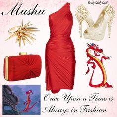 Disney Style: Mushu, created by trulygirlygirl Disney Prom Dresses, Disney Character Outfits, Disney Dress Up, Disney Themed Outfits, Character Inspired Outfits, Disney Bound Outfits, Disney Clothes, Cute Dresses, Beautiful Dresses