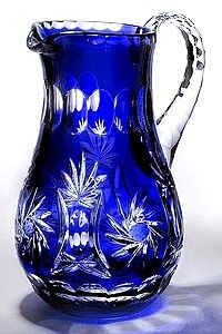 Beautiful Cobalt Blue Cased Crystal Pitcher 1.25 Liter  - IN STOCK!