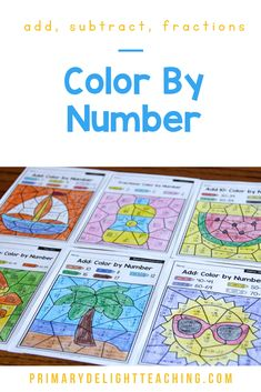 Summer color by number math worksheets are a fun way for kids to practice addition and subtraction in first grade. Use these printable pages for morning work for students or for early finishers in the classroom or homeschool setting. Summer color by number sheets include the beach, sailing, sun, and summer foods - perfect for this summer! Kids practice addition and subtraction to 20 , place value and fractions. #SummerMath Addition Facts, Addition And Subtraction, Math Stations, Math Centers, Teaching Subtraction, First Grade Classroom, Math Practices, Early Finishers, Math Facts