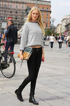 Consider pairing a grey cropped sweater with black skinny jeans for a Sunday lunch with friends. Black leather chelsea boots are a great choice to complete the look.