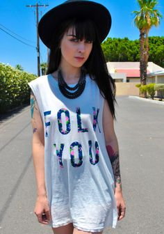 Image of Folk You over sized muscle tee