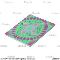 Clover Green Flower Notepad #green #purple #trendy #pattern #fractals #fractal #abstract #colorful #bright #vibrant #psychedelic #rainbow