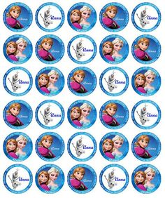 Beautiful PreCut Edible Wafer paper cupcake toppers by CakePics Mixed set of personalised Frozen toppers Anna, Elsa and Olaf. All are available individually too!