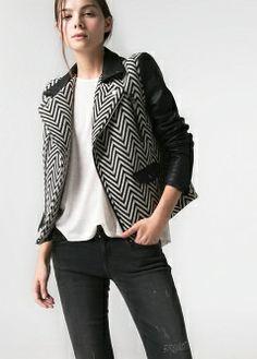 MANGO   Faux leather detail herringbone jacket