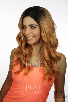 Balayage Peach Blonde Ombre Long Curly Lace Front Wig / Pastel Pink Cosplay Brown Wig Beyonce Drag Queen Rihanna Elf Costume Princess Series by PoseWigs on Etsy