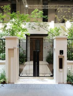 Main Gate Design, Door Gate Design, House Gate Design, Gate House, House Front Design, Facade Design, Fence Wall Design, Gate Designs Modern, Modern Fence Design