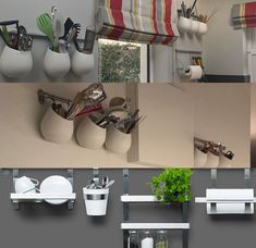 Blank walls are the perfect place for extra storage. In narrow rooms – position at a height to maximise storage and not minimise space. Here are examples of storage rails used in galley style… Narrow Rooms, Blank Walls, Extra Storage, Perfect Place, Shoe Rack, Minimalism, Kitchens, Space, Home