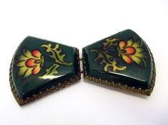 Deep Green Celluloid Belt Buckle Set Art Deco by donDiLights